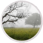 Skc 0058 Contrasty Trees Round Beach Towel