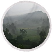 Round Beach Towel featuring the photograph Skc 0079 A Winter Morning by Sunil Kapadia