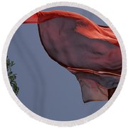 Round Beach Towel featuring the photograph Skc 0958 The Flying Saree by Sunil Kapadia