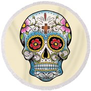 Skull 10 Round Beach Towel