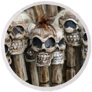 Skull Sticks Round Beach Towel