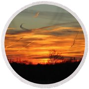 Sky At Sunset Round Beach Towel by Cynthia Guinn