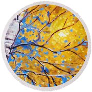Sky Birch Round Beach Towel