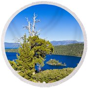 Sky Blue Water - Emerald Bay - Lake Tahoe Round Beach Towel