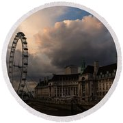 Sky Drama Around The London Eye Round Beach Towel