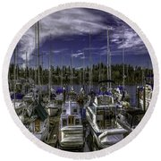 Round Beach Towel featuring the photograph Sky Embrace by Jean OKeeffe Macro Abundance Art