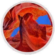 Sky Eyes In Antelope Canyon Round Beach Towel by Greg Norrell