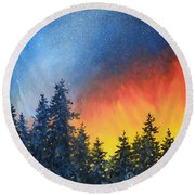 Sky Fire Round Beach Towel