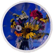 Sky Flowers Round Beach Towel