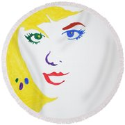 Round Beach Towel featuring the painting Blonde Mother Nature by Stormm Bradshaw
