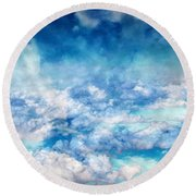 Sky Moods - A View From Above Round Beach Towel