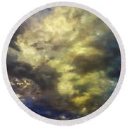 Round Beach Towel featuring the photograph Sky Moods - Abstract by Glenn McCarthy Art and Photography