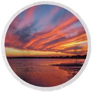 Sky On Fire Round Beach Towel by Jane Luxton