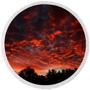 Sky On Fire Round Beach Towel by Kenny Glotfelty