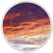 Sky On Fire Round Beach Towel