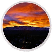 Round Beach Towel featuring the photograph Sky Shadows by Jeremy Rhoades