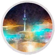 Sky Tower By Night Round Beach Towel