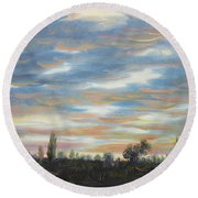 Round Beach Towel featuring the painting Sky by Vesna Martinjak