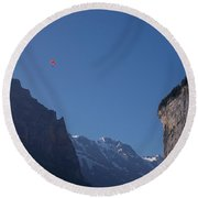 Skydiver Over Lauterbrunnen Round Beach Towel