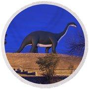 Skyline Drive Dinosaur Statues At Dawn Round Beach Towel