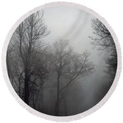 Skyline Drive In Fog Round Beach Towel