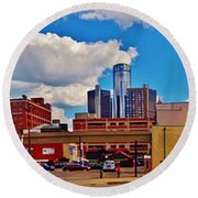 Skyline From The Inside... Detroit Round Beach Towel
