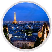Skyline Of Paris Round Beach Towel
