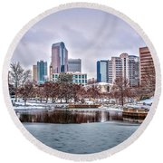 Round Beach Towel featuring the photograph Skyline Of Uptown Charlotte North Carolina At Night by Alex Grichenko