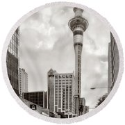 Sky Tower's Queen St Couple.nz Round Beach Towel by Jennie Breeze