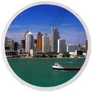 Round Beach Towel featuring the photograph Skylines At The Waterfront, River by Panoramic Images