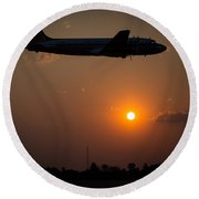 Round Beach Towel featuring the photograph Skymaster Sunset by Paul Job