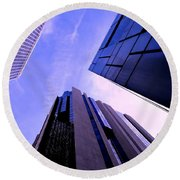 Skyscraper Angles Round Beach Towel