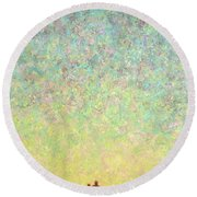 Skywatching In A Painting Round Beach Towel