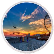 Skywheel Sunset At Myrtle Beach Round Beach Towel