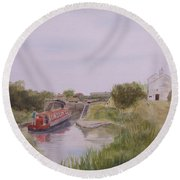 Round Beach Towel featuring the painting Slapton Lock by Martin Howard