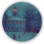 Sledding At The Old Round Church Round Beach Towel