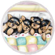 Sleeping Babies Round Beach Towel
