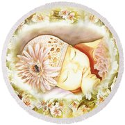 Round Beach Towel featuring the painting Sleeping Baby Vintage Dreams by Irina Sztukowski