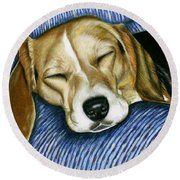 Sleeping Beagle Round Beach Towel
