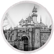 Sleeping Beauty Castle Disneyland Side View Bw Round Beach Towel by Thomas Woolworth