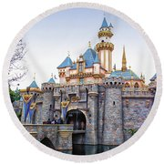 Sleeping Beauty Castle Disneyland Side View Round Beach Towel