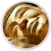 Round Beach Towel featuring the photograph Sleeping Buddha by Nola Lee Kelsey