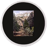 Round Beach Towel featuring the painting Sleeping Faces In The Rock by Donna Tucker