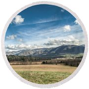 Round Beach Towel featuring the photograph Sleeping Giants In Cades Cove by Debbie Green