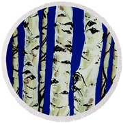 Round Beach Towel featuring the painting Sleeping Giants by Jackie Carpenter