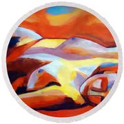 Round Beach Towel featuring the painting Sleeping Lady by Helena Wierzbicki