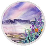 Sleeping Lady Sunset Round Beach Towel