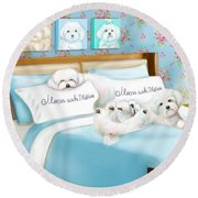 Sleeps With Maltese Round Beach Towel