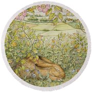 Sleepy Bunny Round Beach Towel