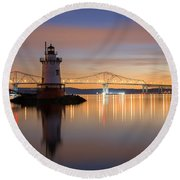 Sleepy Hollow Light Reflections  Round Beach Towel by Michael Ver Sprill